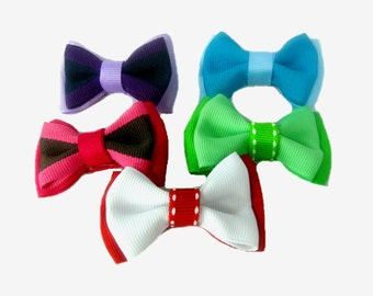 """Set of 5 Bows Hair Clips,  2"""" Hair Bows for Baby Girl, Hairbow"""