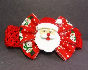 Christmas Headband, Baby Headband, Santa Claus Headband, Baby Head Band, Red Baby Girl Headband, Baby Christmas Hair Bow, First Christmas
