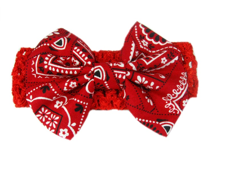 Baby Bandana Hair Bow Red Bandana Headband Baby Head Band  3c2bbf6ddc3
