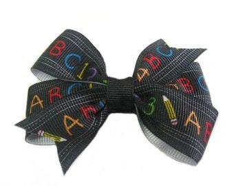 ABC Hair Bow, School Hair Bow, Girls Hairbows, 3 inch Toddler Hair Bows
