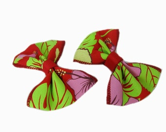 Floral Pigtail Bow Set, 3 inch Pigtail Hair Bows, Toddler Hair Bows with Alligator clip