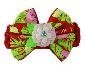 Floral Bow Headband, Baby Girl Headband, Floral Hair Bow with Red Headband