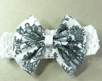 Baby Head Band Black White Hair Bow Toile
