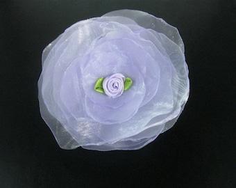 Girls Hair Clip, Floral Hair Clip, Lavender Fabric Flower Hair Clip