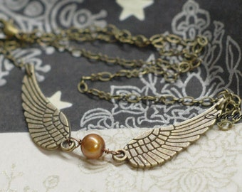 Harry Potter Inspired Snitch Necklace - Freshwater Pearl