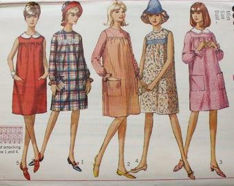 Vintage 60's Pattern, Simplicity 6386 Sewing Pattern, Dress Sewing Pattern, Size 14, Bust 34, Uncut