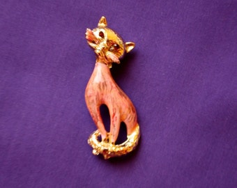 Cat Pin, Peach Marblelized Body, Gold Tone Cat Pin, Kitty