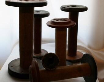 Large Vintage Wooden Spool, Vintage Bobbins, Set of 6, Industrial Textile Mill Spool, Rustic Decor