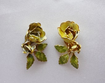Yellow Rose Clip Earrings,  Vintage Gold Edge