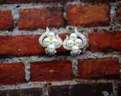 Faux Pearl Sparkly Design Silvertone Clip Earrings, Vintage Clip On Earrings