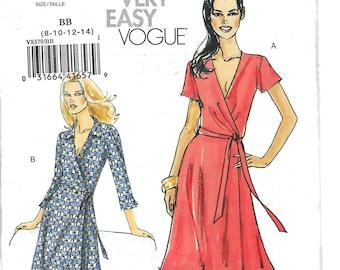 VOGUE V8379, Wrap Front Dress, Sewing Pattern, Uncut