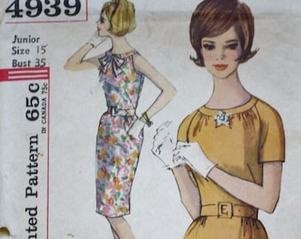 1960s Wiggle Dress Sewing Pattern, Simplicity 4939, Bust 35 Vintage Pattern