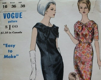 Vogue 5801 1960s Sleeveless One Piece Sheath Dress Sewing Pattern, Oversized Bow Front - Bust 36