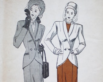 Butterick 4288 1940s Fitted Shawl Collar Jacket,  Six Gore Skirt Pattern  Size 18  Bust 36