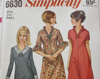 Vintage 60's Simplicity 6630 Sewing Pattern, Dress Sewing Pattern, Size 14, 34 Bust, Uncut