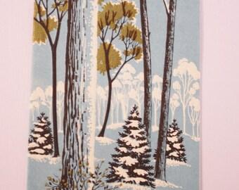 Vintage Christmas Card,  Snowy Blue Trees, Seasons Greetings, Vintage Card, Signed