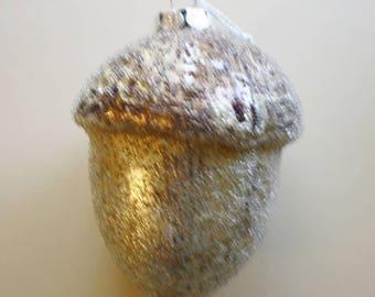 Vintage Acorn Glitzy Christmas Ornament