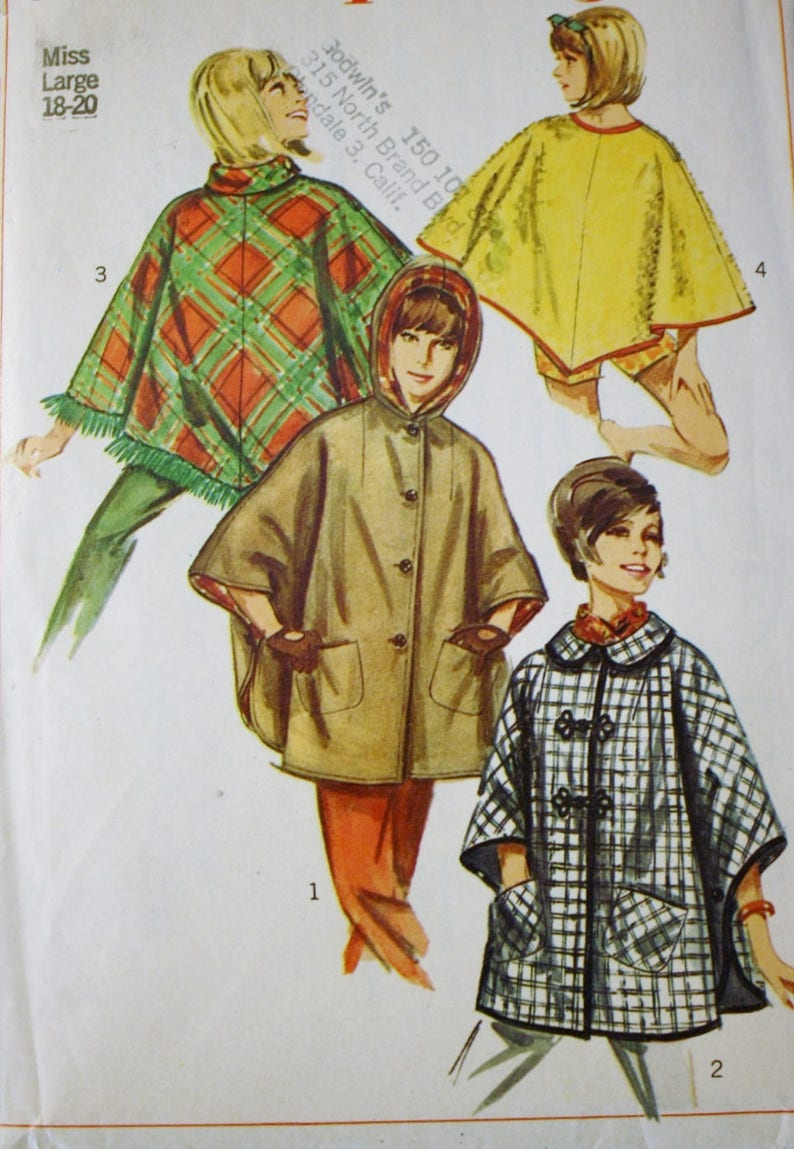 532aaa9db Simplicity 6651 Misses Ponchos Sewing Pattern 1960s | Etsy