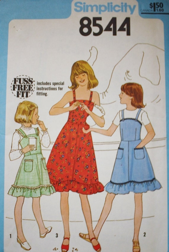 Girls Sundress Sewing Pattern Simplicity 8544 Girls Jumper Etsy