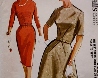 1960s Fitted Dress, Slim or Full Skirt Sewing Pattern McCalls 6520 Bust 34