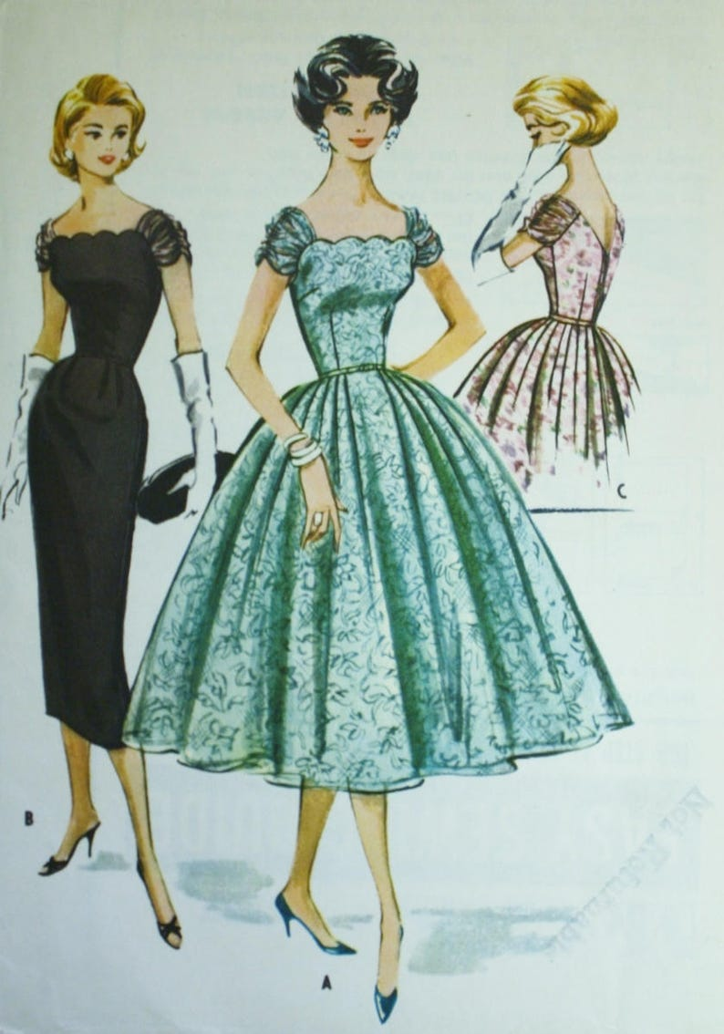 50s Dress Sewing Pattern McCalls 4357 Cocktail Dress Size image 0