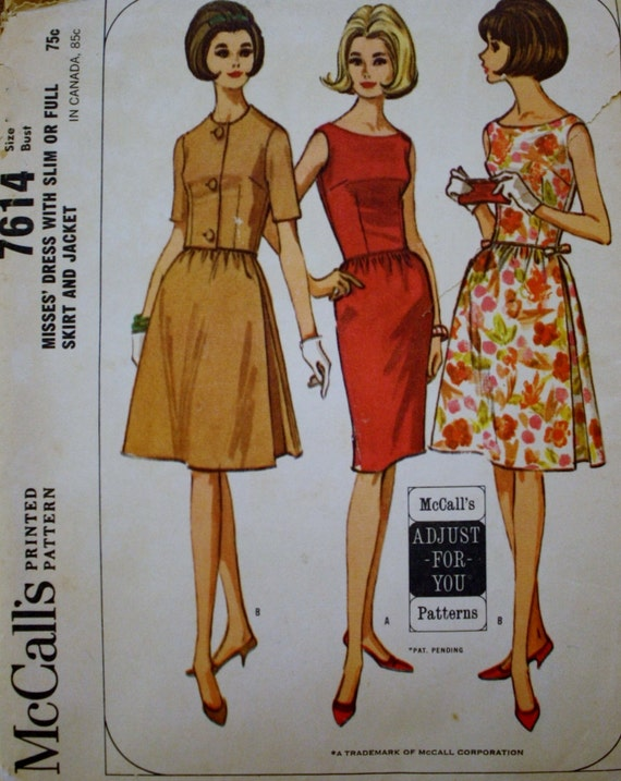 1960s Mccall 7614 Sewing Pattern Dress And Jacket Size Etsy
