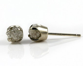 14K White Gold Stud Earrings with Rough Diamonds -Mother's Day Gift - Natural Unfinished Raw Stones - White Diamonds - Gold Post Earrings