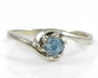 Blue Raw Rough Diamond Ring - 14K Gold Engagement Ring, Swirl Design - Uncut Unfinished Diamond - Conflict Free Rare Blue Diamond