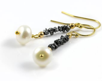 Rough Diamond Pearl Earrings - Mother's Day Gift - 4K Gold Filled - Black Raw Diamonds - White Freshwater Pearls - April Birthstone