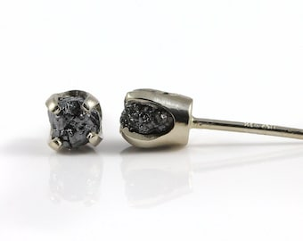 4mm Studs - Jet Black Rough Diamonds on 14K White Gold Ear Posts - Raw Diamond Stones - Solid Gold Ear Studs - April Birthstone