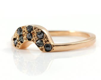Wedding Band for Classic Design Rough Diamond Ring - 14K Gold Band - Band with Rough Raw Diamonds