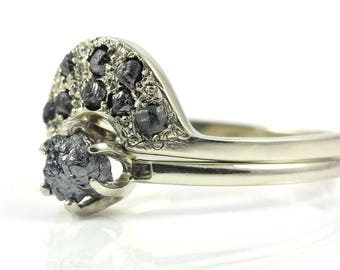 Ring Set with Black Rough Diamonds - 14K White Gold Classic Solitaire Ring - Matching Band - Jet Black Uncut Diamonds