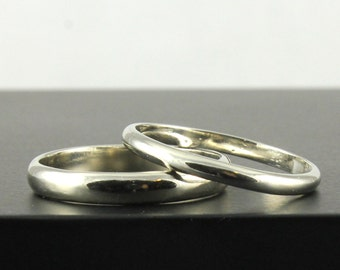 14K Gold Wedding Band Set - Half Round Rings - 3mm & 2mm Simple Bands - White Yellow Rose Gold