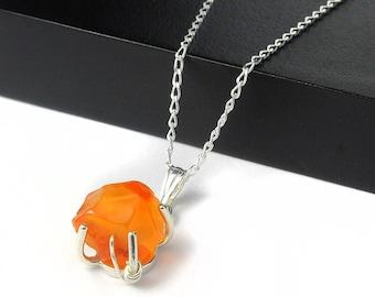 Carnelian Necklace Sterling Silver - Irregular Shaped Rough Raw Carnelian Stone - Rough Gemstone Jewelry