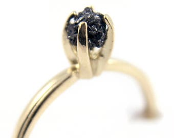 14K Yellow Gold Ring - Raw Rough Diamond Ring - SOLID Gold - Jet Black Diamond - Engagement Ring