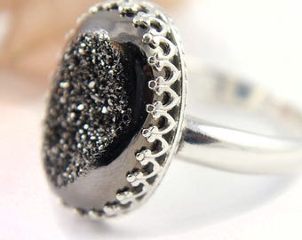 Oval Druzy Quartz Ring - Sterling Silver - Drussy Bezel Set - Grey Drusy Stone - April Birthstone