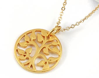 CUSTOM ORDER - Family Tree Necklace - Goldfilled - Tree of Life Charm 24K Gold Plated - Circle Tree