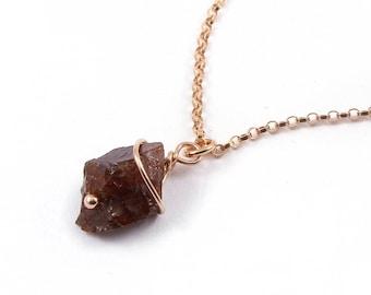 14K Rose Gold Filled Necklace with Rough Garnet - Mother's Day - Irregular Shape Raw Garnet - Natural Stone Necklace - Dark Red Gemstone