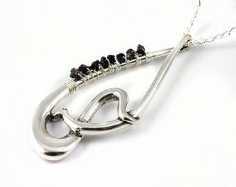 Silver Abstract Teardrop Necklace -Mother's Day Gift - Fancy Teardrop with Rough Diamonds - Wire Wrapped Raw Diamonds