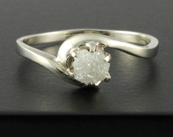 14K White Gold Solitaire Ring - White Raw Rough Diamond - Uncut Unfinished Diamond - Engagement Ring - Swirl Design - April Birthstone