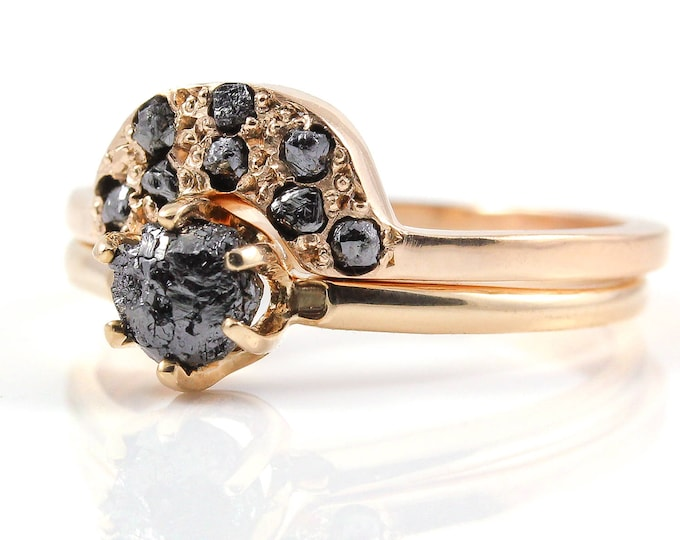 Featured listing image: Rough Diamond Ring Set 14K Rose Gold - Classic Solitaire Ring with Matching Band - Jet Black Uncut Diamonds