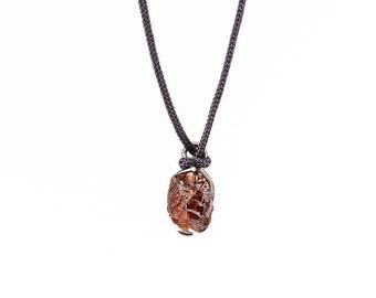 Garnet Niobium Necklace - Hypoallergenic Natural Silk Necklace - Red Natural Garnet - Colored Niobium - Rough Gemstone Jewelry Wire Wrapped