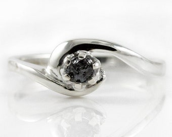 Solitaire Ring Sterling Silver - Black Rough Diamond - Silver Engagement Ring, Swirl Design - Uncut Diamond - Promise Ring- April Birthstone