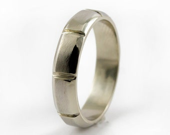 14K White Gold Men's Wedding Band - Grooved on Satin Finish - 5mm Gold Engagement Band - Men's Wedding Ring