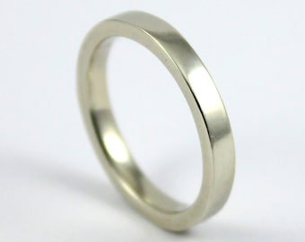 Gold Wedding Band - 14K Gold Band for His or Hers - 3mm Flat Design Band Comfort Fit - White Yellow or Rose Gold