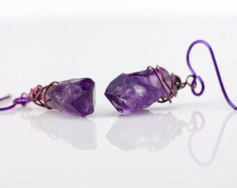 Niobium Earrings with Amethyst - Purple Earrings - Sensitive Ears Hypoallergenic Colored Niobium - Natural Rough Gemstones - Wire Wrapped