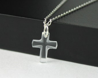 Swarovski Cross Necklace Sterling Silver - Small Crystal Clear Swarovski Crystal - Tiny Cross Necklace - Bridal Gift
