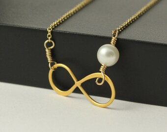 24K Gold Infinity Necklace with Pearl, 14k Gold-Filled Necklace, Freshwater Pearl, Forever, Friendship Necklace, Vermeil Figure 8 Link