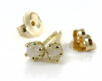 3mm Rough Diamond Stud Earrings - 14K Gold Filled - Natural Conflict Free White Raw Diamonds Unfinished - April Birthstone