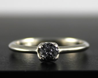 14K White Gold Simple Ring with Rough Diamond - Black Diamond Ring - Wedding Engagement Ring - Uncut Unfinished Diamond